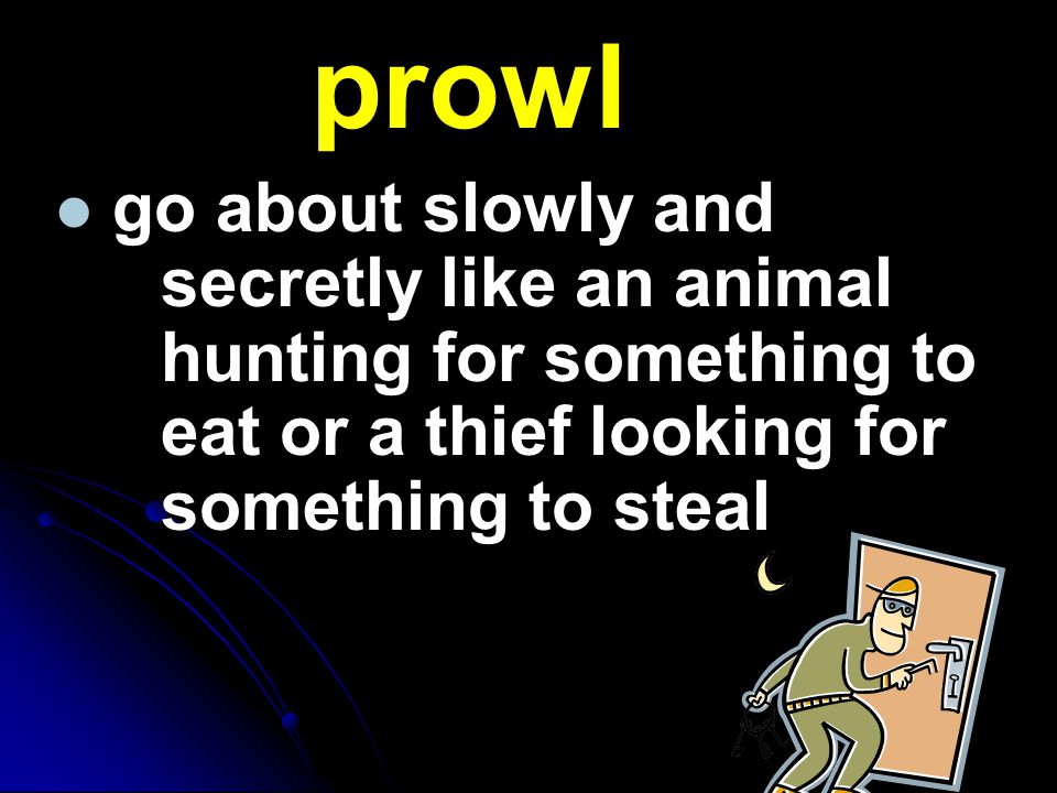 prowl go about slowly and secretly like an animal hunting for something to eat or a thief looking for something to steal.
