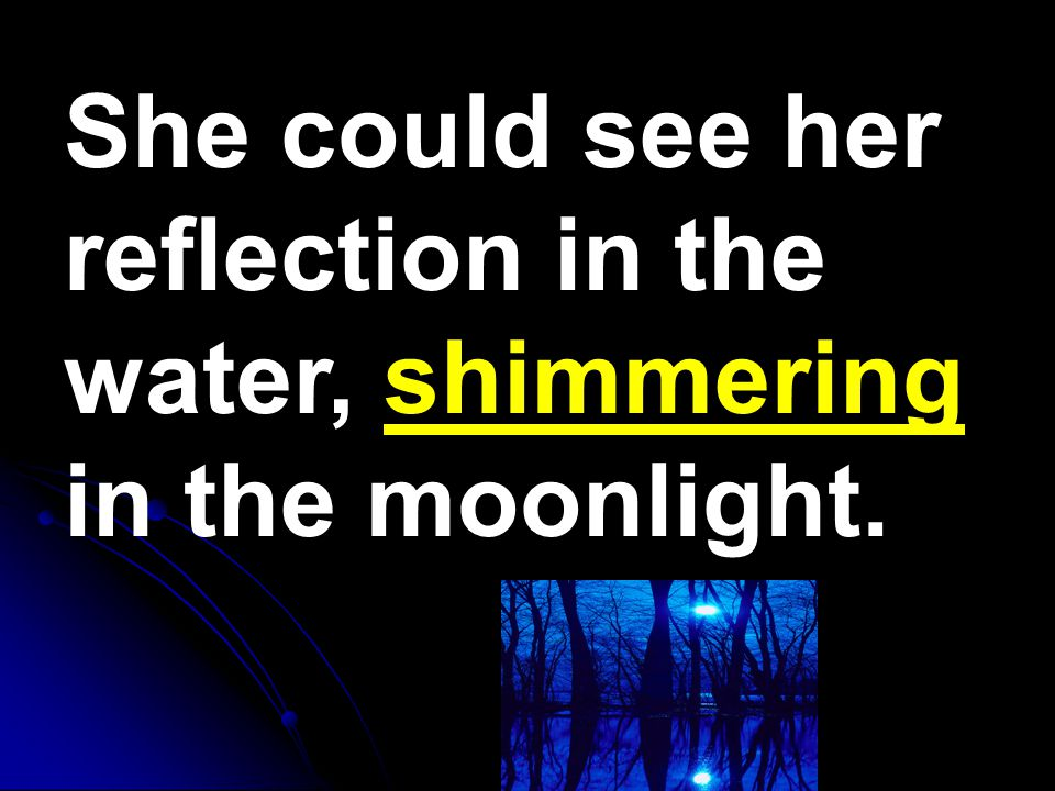 She could see her reflection in the water, shimmering in the moonlight.