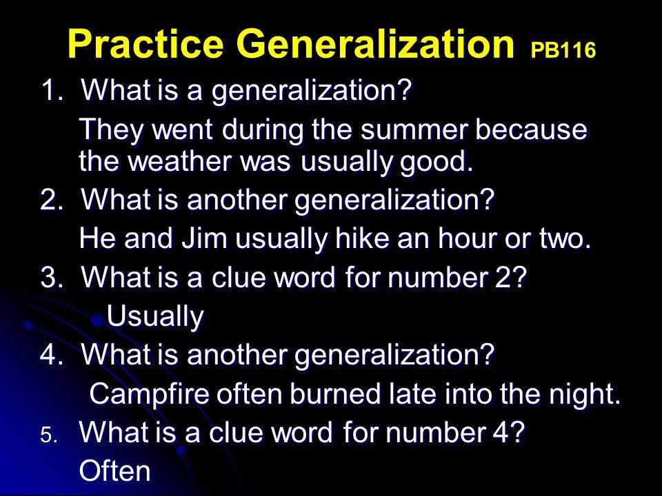 Practice Generalization PB116