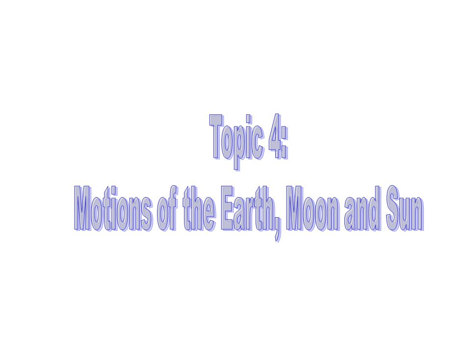 Motions of the Earth, Moon and Sun