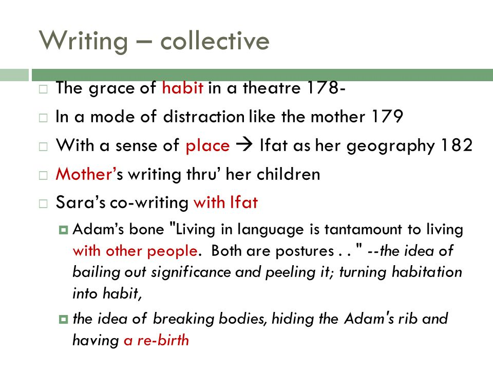 Writing – collective The grace of habit in a theatre 178-