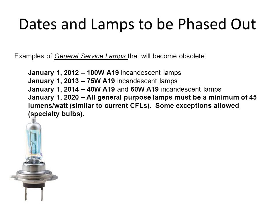 Dates and Lamps to be Phased Out