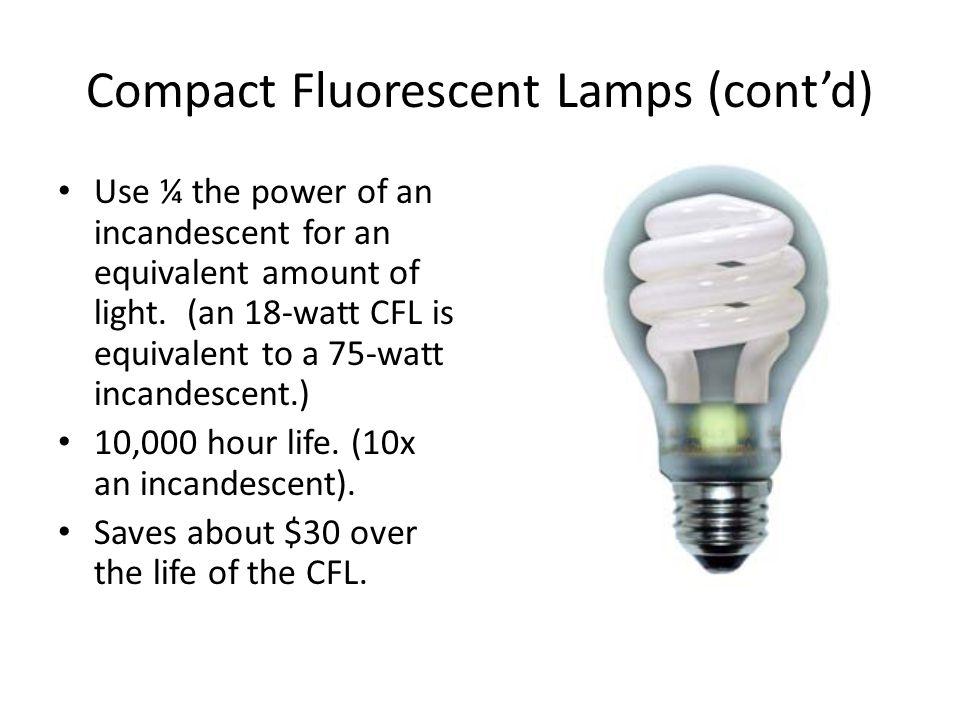 Compact Fluorescent Lamps (cont'd)