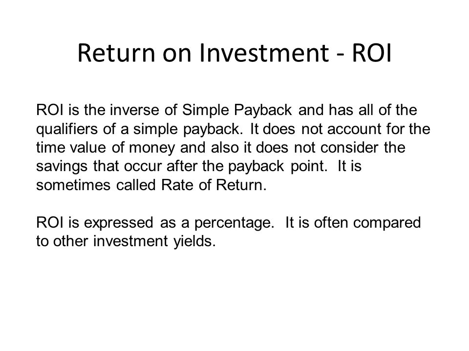 Return on Investment - ROI