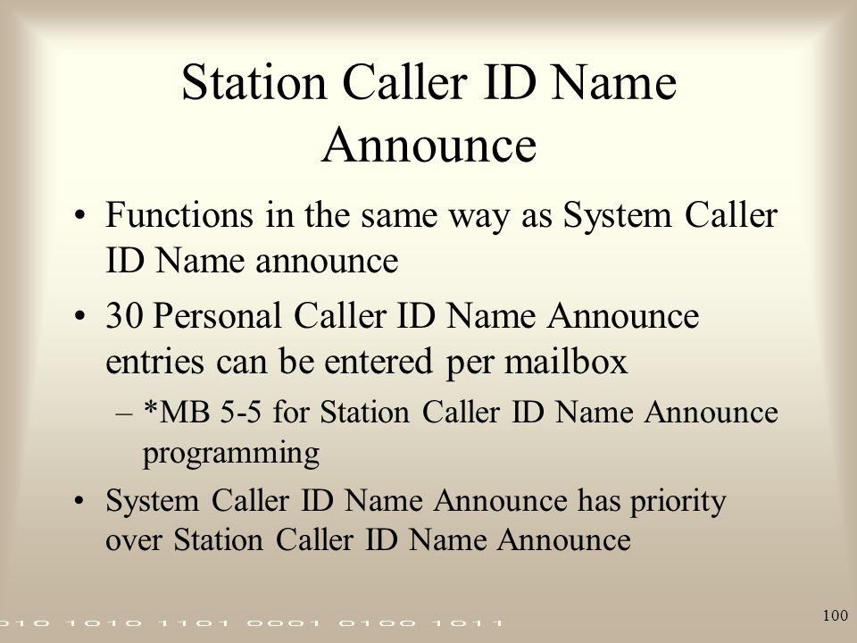 Station Caller ID Name Announce