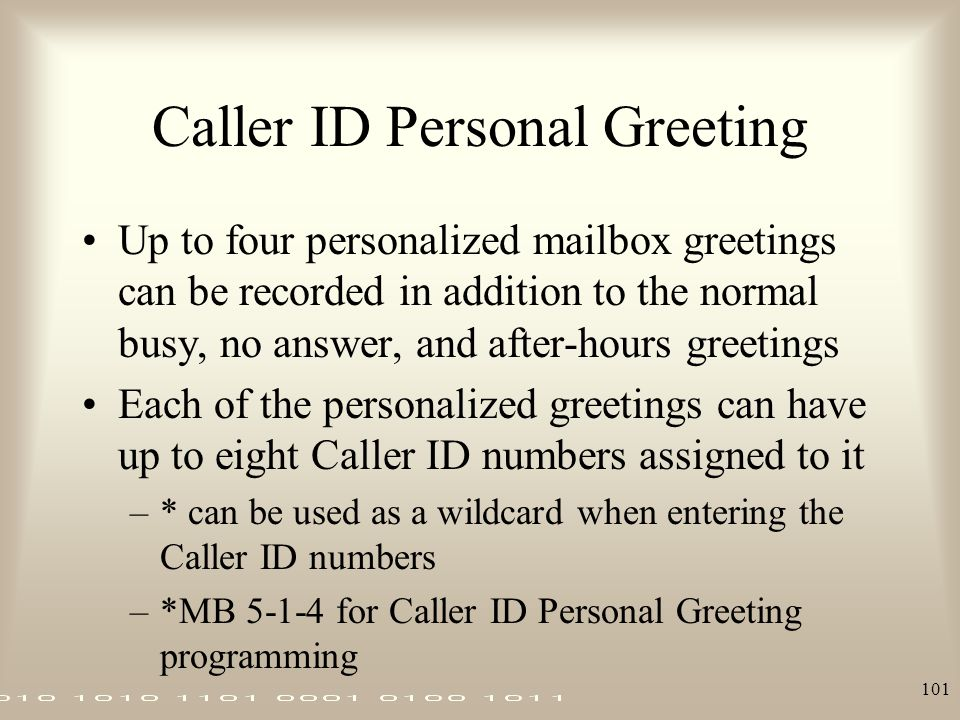 Caller ID Personal Greeting
