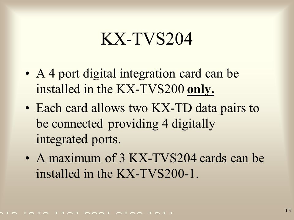 KX-TVS204 A 4 port digital integration card can be installed in the KX-TVS200 only.