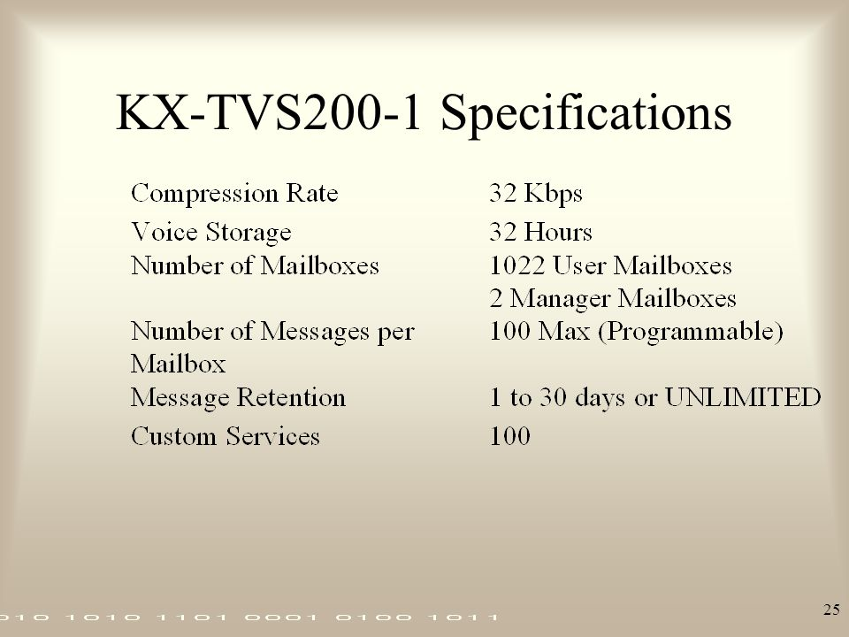 KX-TVS200-1 Specifications