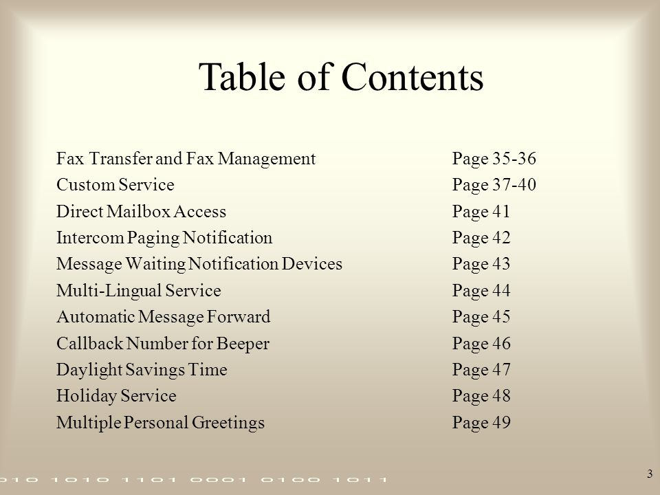 Table of Contents Fax Transfer and Fax Management Page 35-36