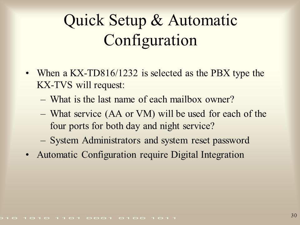 Quick Setup & Automatic Configuration
