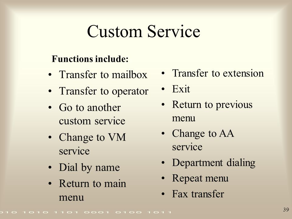 Custom Service Transfer to mailbox Transfer to operator