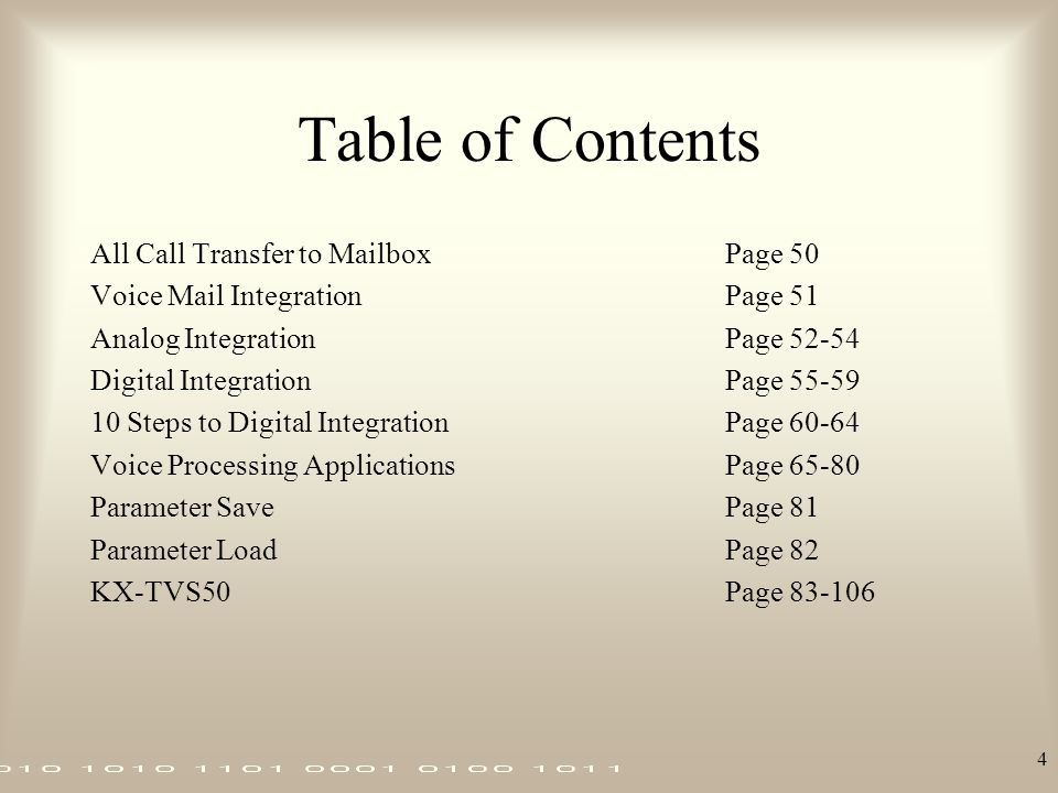 Table of Contents All Call Transfer to Mailbox Page 50