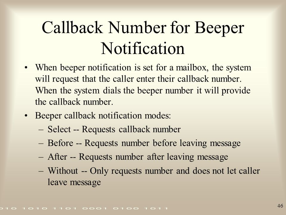 Callback Number for Beeper Notification