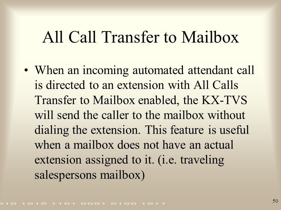 All Call Transfer to Mailbox