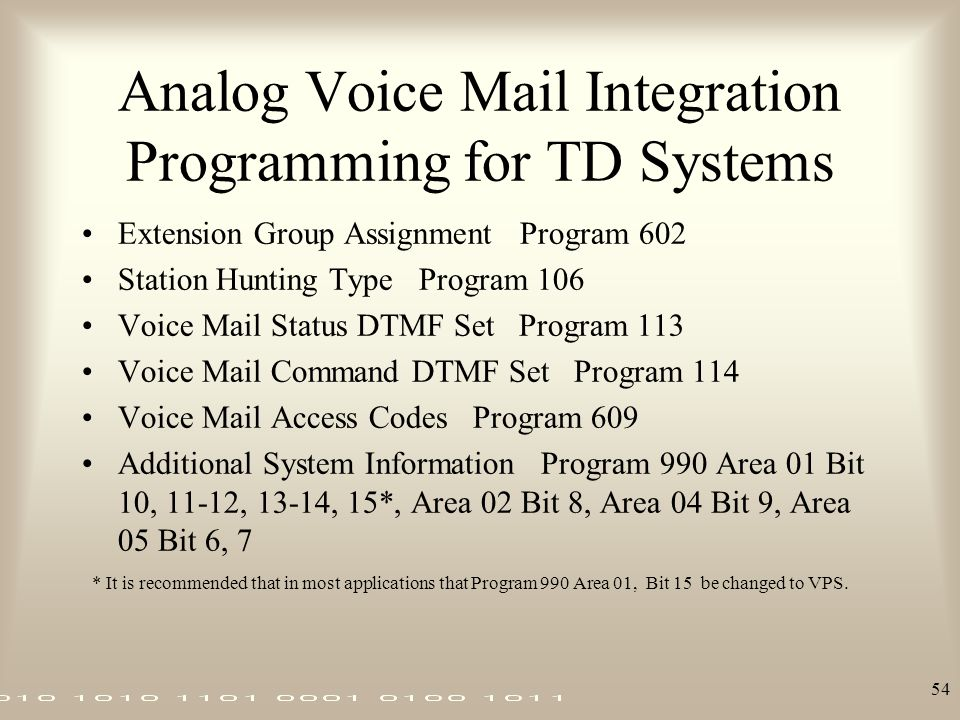 Analog Voice Mail Integration Programming for TD Systems