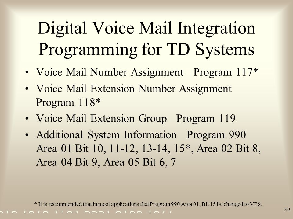 Digital Voice Mail Integration Programming for TD Systems