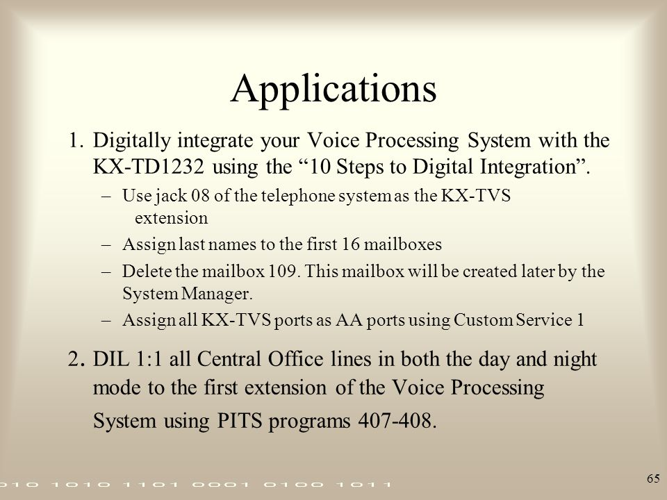 Applications 1. Digitally integrate your Voice Processing System with the KX-TD1232 using the 10 Steps to Digital Integration .