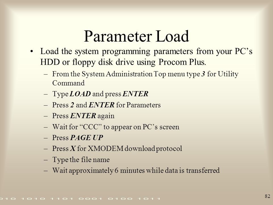 Parameter Load Load the system programming parameters from your PC's HDD or floppy disk drive using Procom Plus.