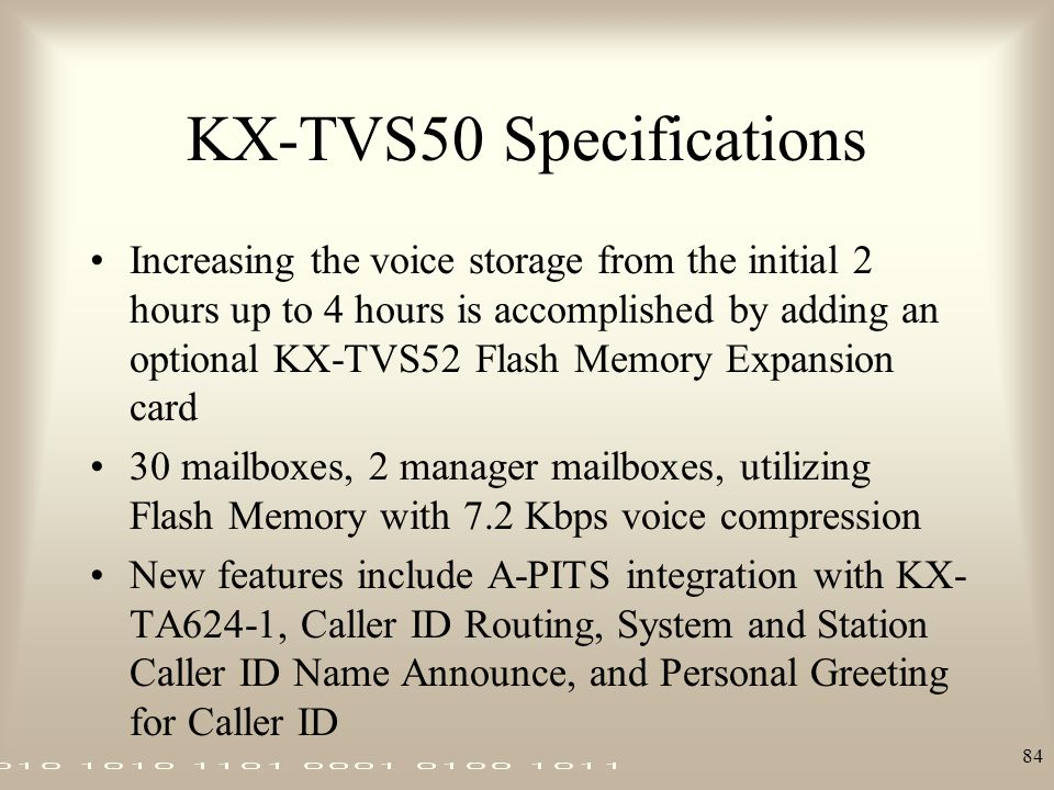 KX-TVS50 Specifications