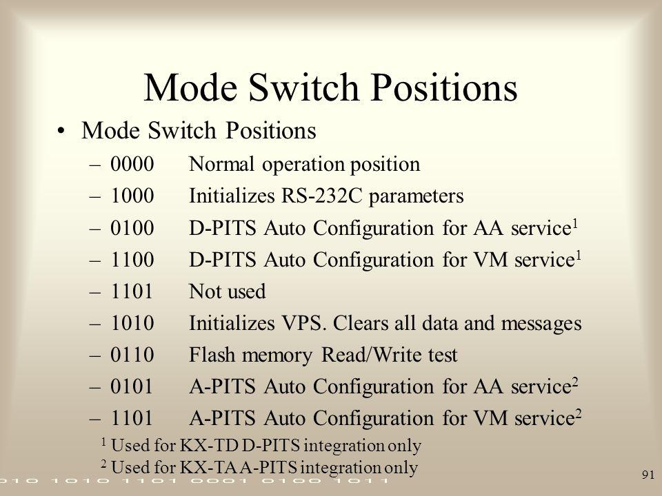 Mode Switch Positions Mode Switch Positions