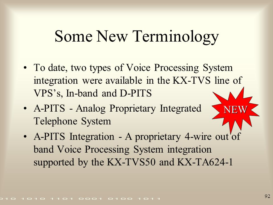 Some New Terminology To date, two types of Voice Processing System integration were available in the KX-TVS line of VPS's, In-band and D-PITS.