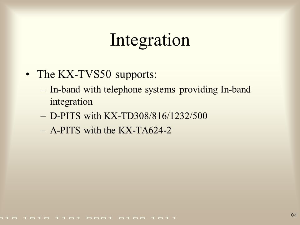 Integration The KX-TVS50 supports: