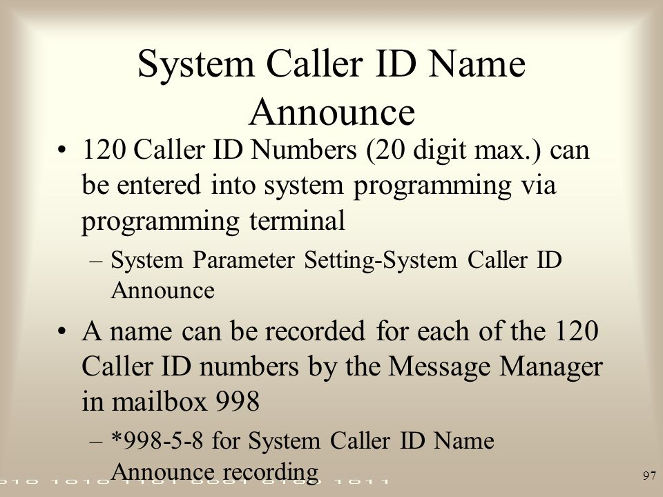 System Caller ID Name Announce