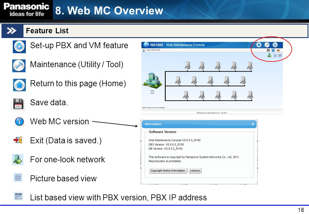 8. Web MC Overview Feature List.