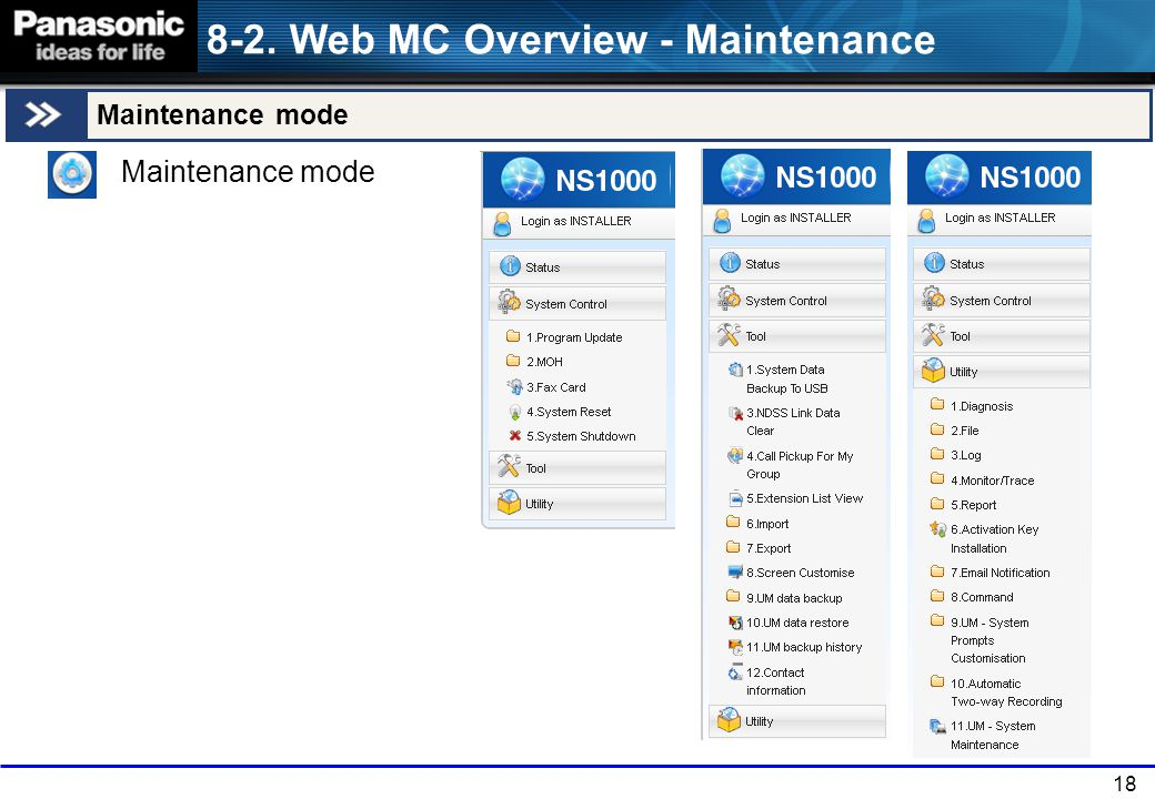 8-2. Web MC Overview - Maintenance