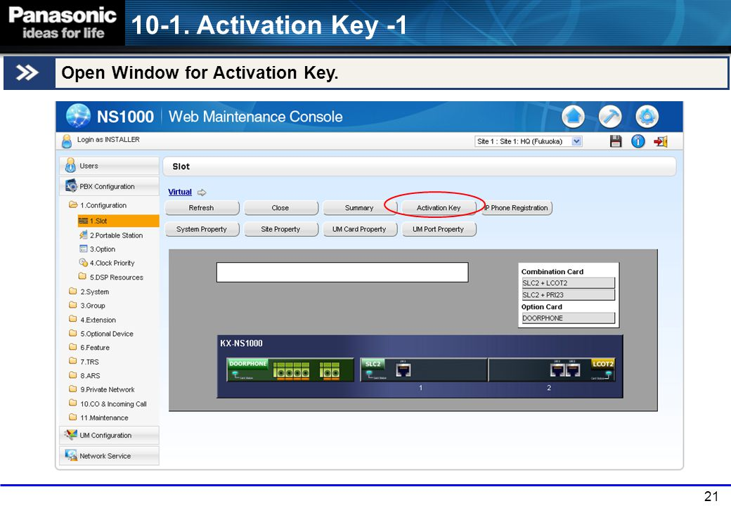10-1. Activation Key -1 Open Window for Activation Key. 21