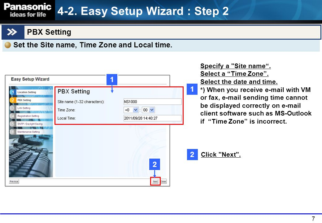 4-2. Easy Setup Wizard : Step 2