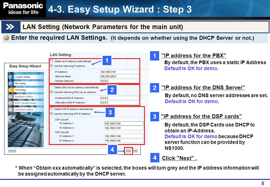 4-3. Easy Setup Wizard : Step 3