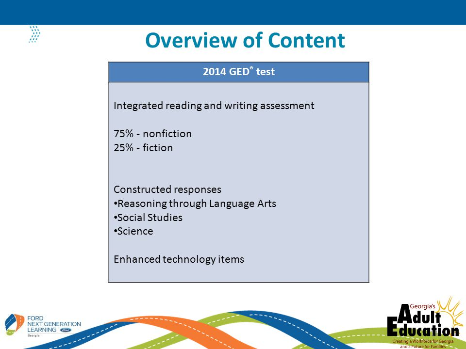 Overview of Content 2014 GED® test