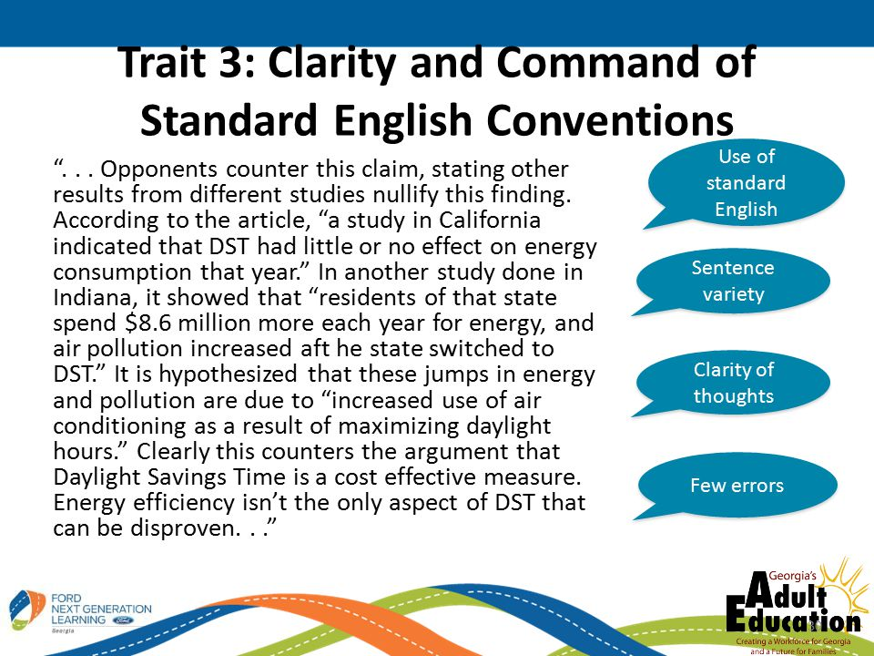 Trait 3: Clarity and Command of Standard English Conventions