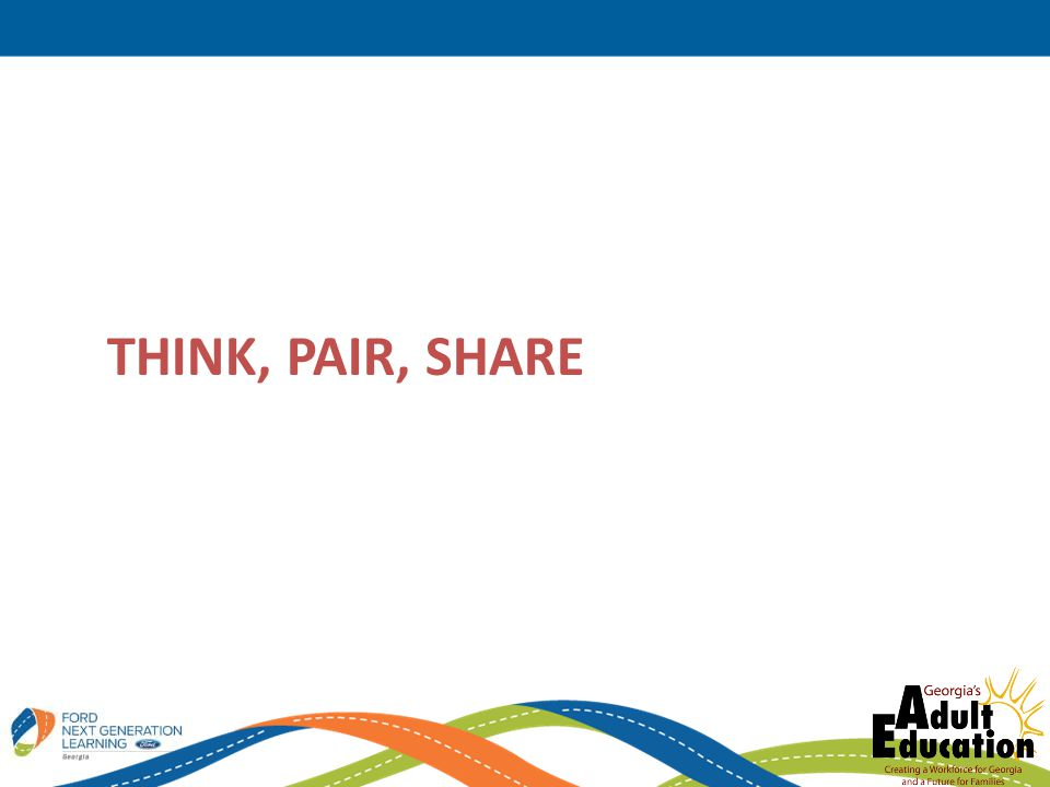 Think, pair, share Use Handout from Activity 15 to generate ideas individually and share in pairs
