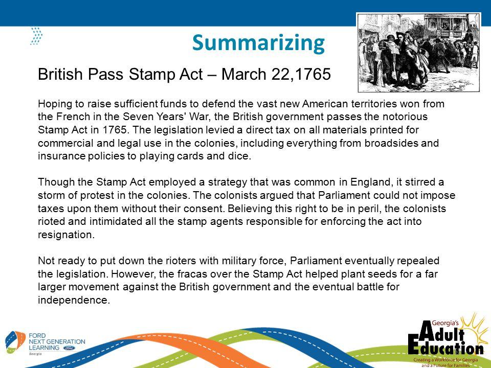 Summarizing British Pass Stamp Act – March 22,1765