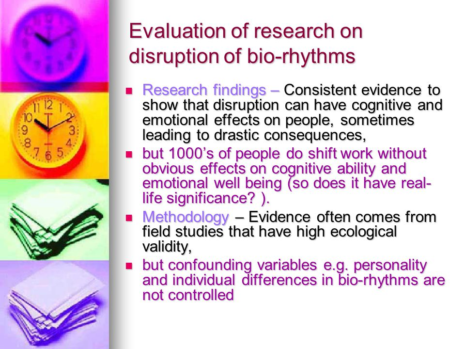 Evaluation of research on disruption of bio-rhythms