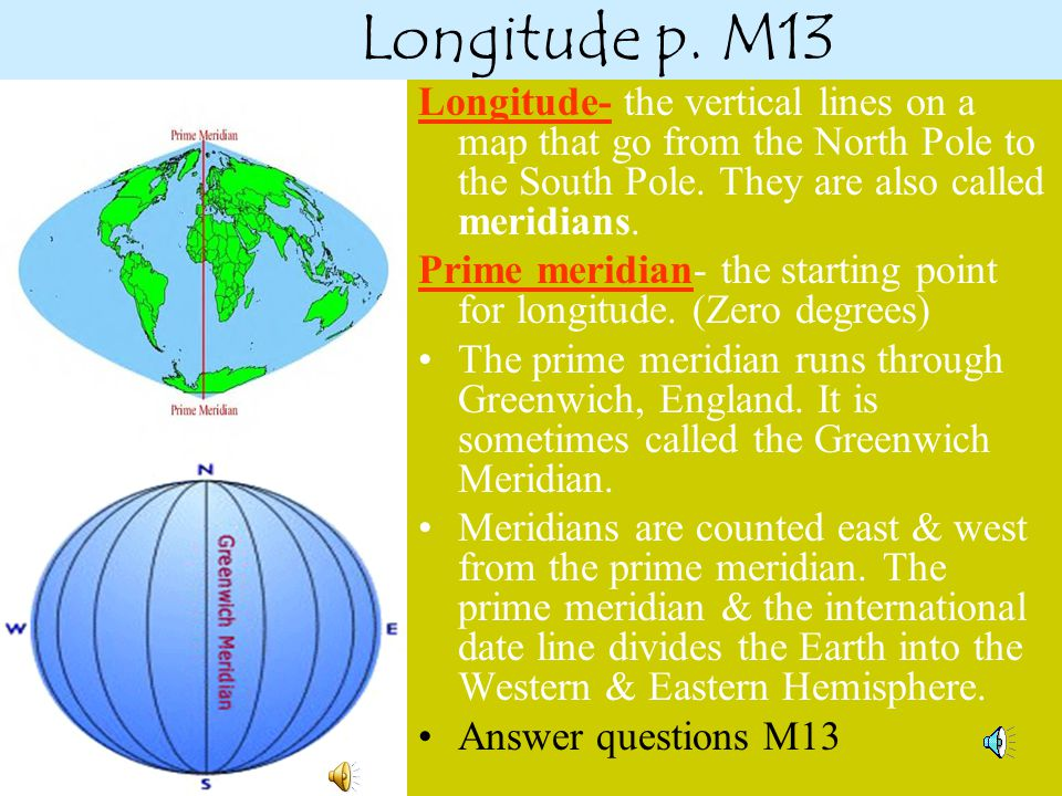 Longitude p. M13 Longitude- the vertical lines on a map that go from the North Pole to the South Pole. They are also called meridians.