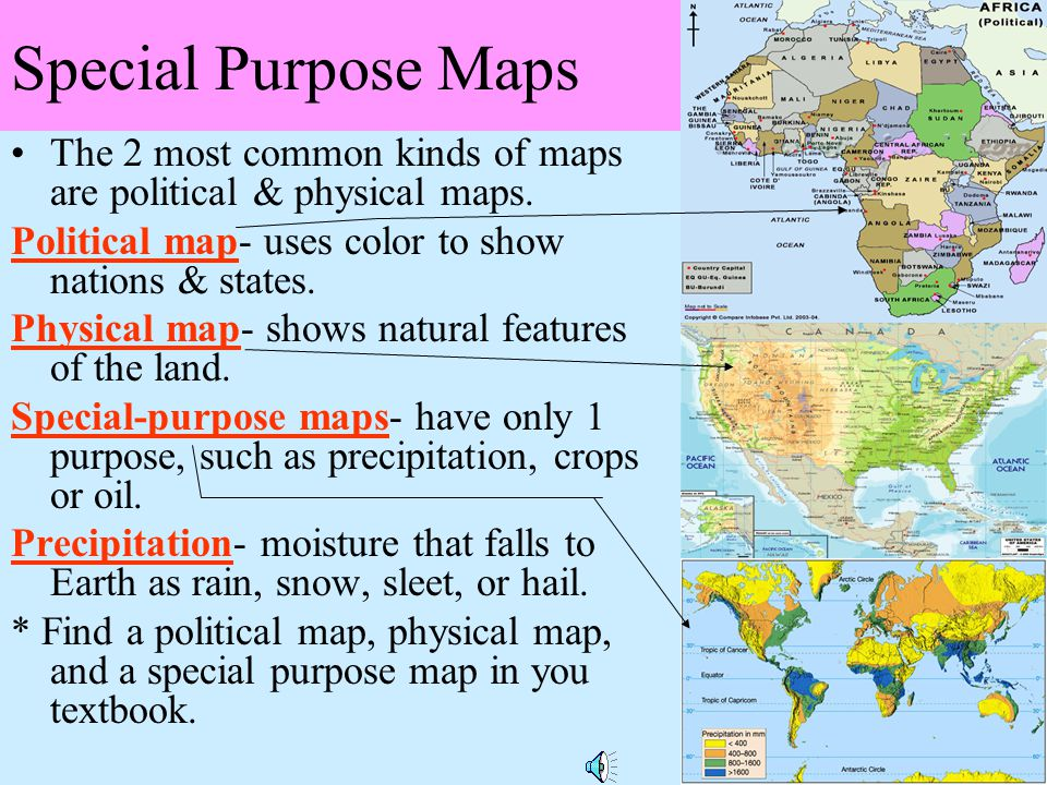 Special Purpose Maps The 2 most common kinds of maps are political & physical maps. Political map- uses color to show nations & states.