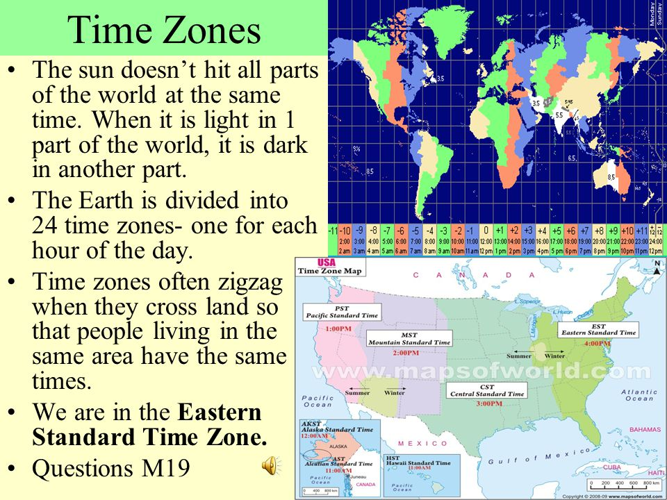 Time Zones The sun doesn't hit all parts of the world at the same time. When it is light in 1 part of the world, it is dark in another part.