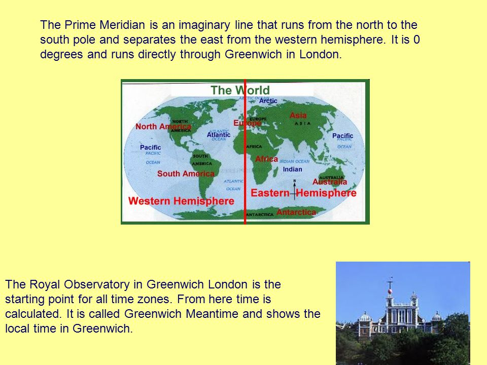 The Prime Meridian is an imaginary line that runs from the north to the south pole and separates the east from the western hemisphere. It is 0 degrees and runs directly through Greenwich in London.