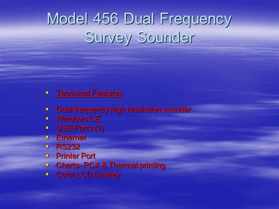 Model 456 Dual Frequency Survey Sounder