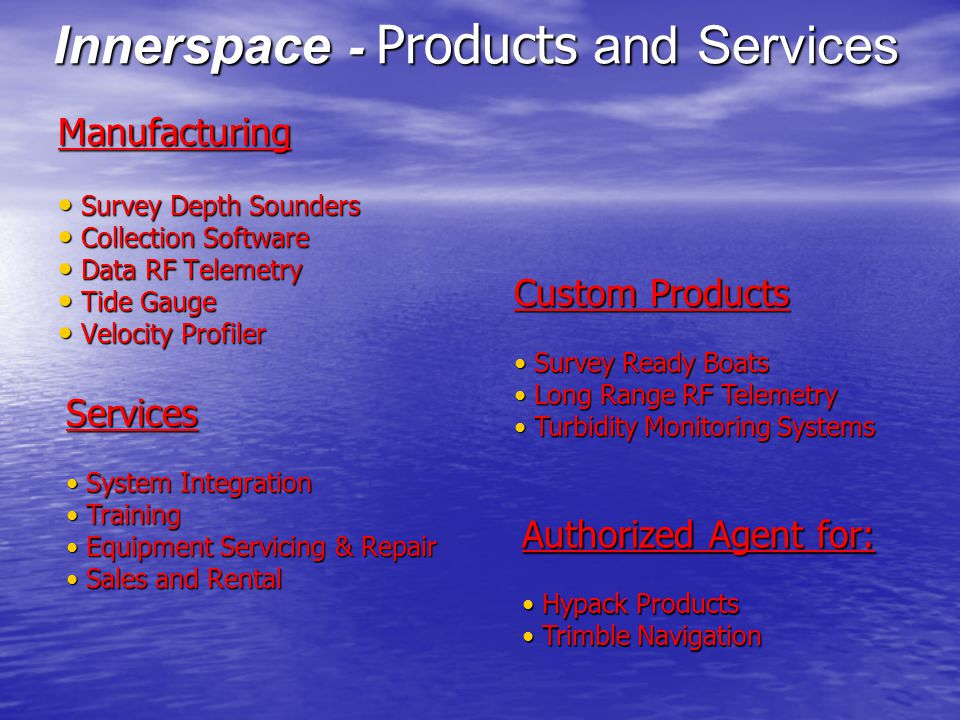 Innerspace - Products and Services