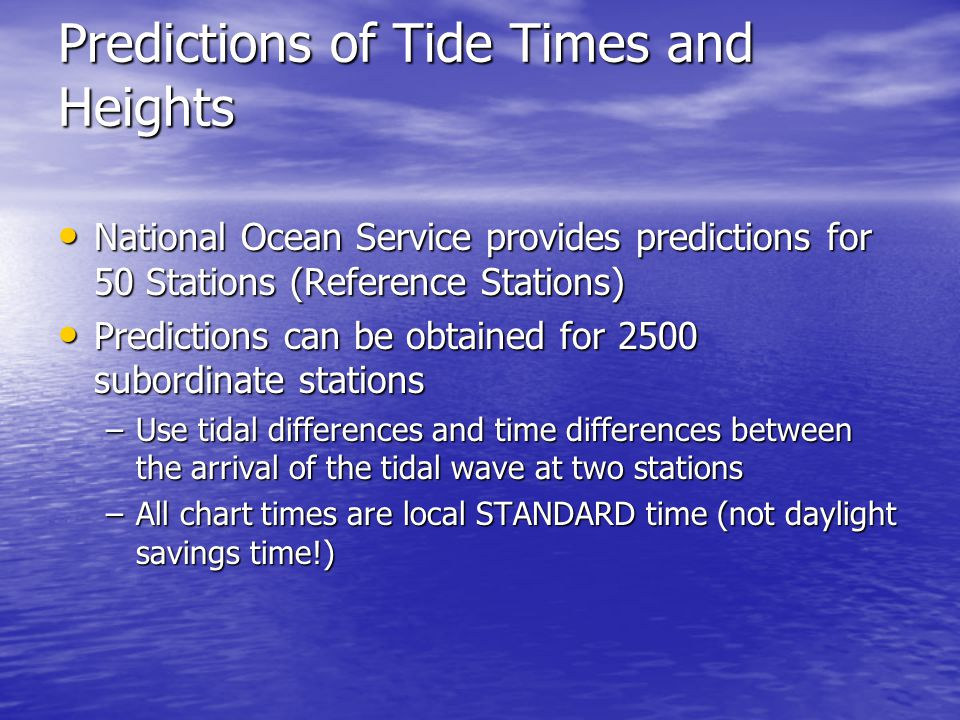 Predictions of Tide Times and Heights