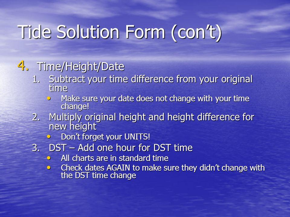 Tide Solution Form (con't)