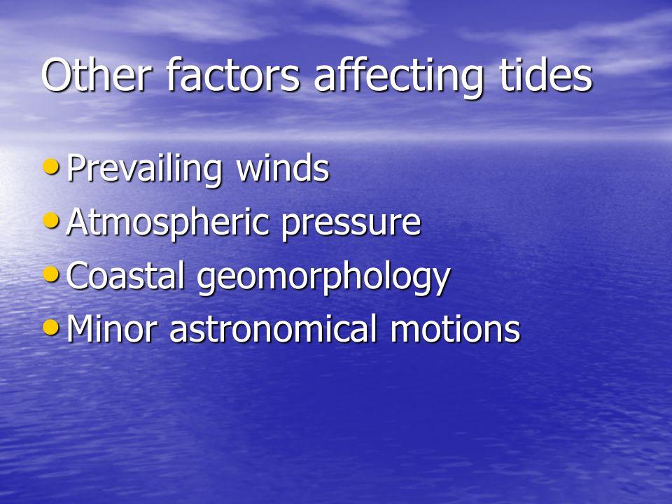 Other factors affecting tides