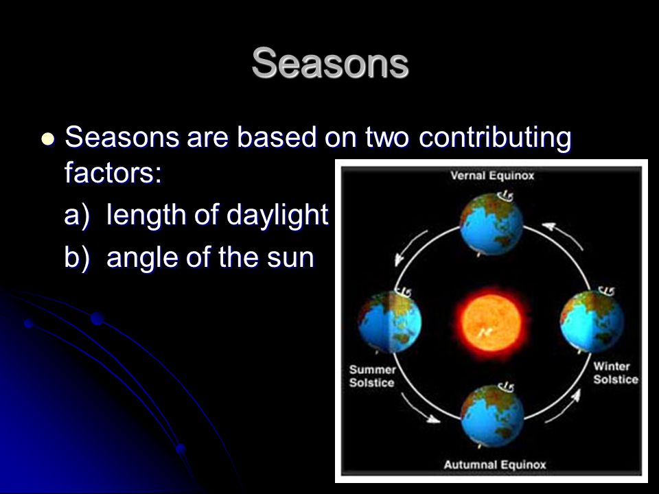 Seasons Seasons are based on two contributing factors: