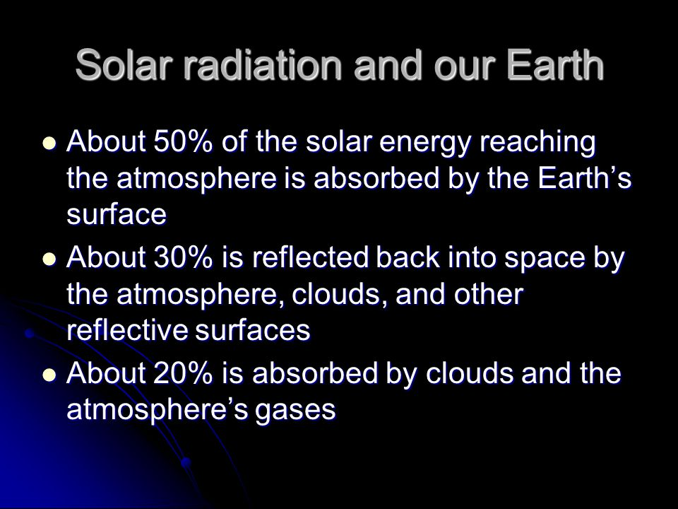 Solar radiation and our Earth