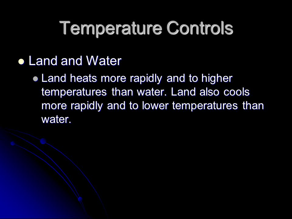Temperature Controls Land and Water