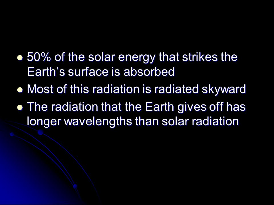 50% of the solar energy that strikes the Earth's surface is absorbed